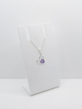 Sterling Silver Heart Pendant - Purple