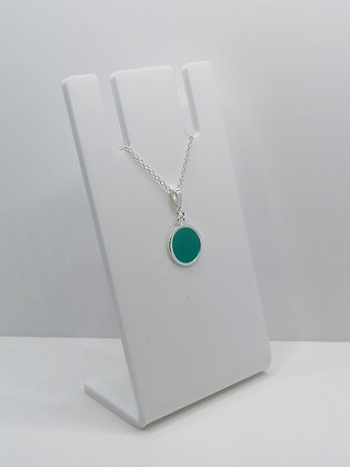 Sterling Silver Circle Pendant - Turquoise