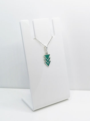Sterling Silver Triangles Pendant - Turquoise