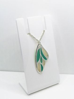 Silver Plated Wing Pendant - Turquoise