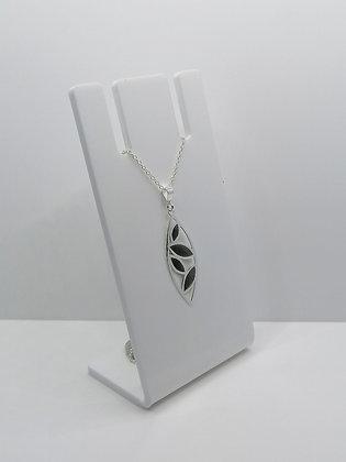 Sterling Silver Leaf Pendant - Black