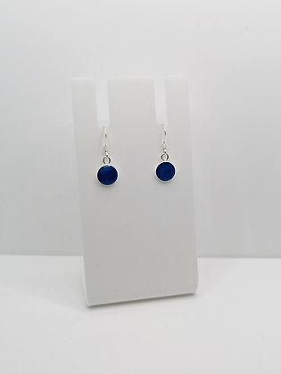 Sterling Silver Round Earrings - Blue