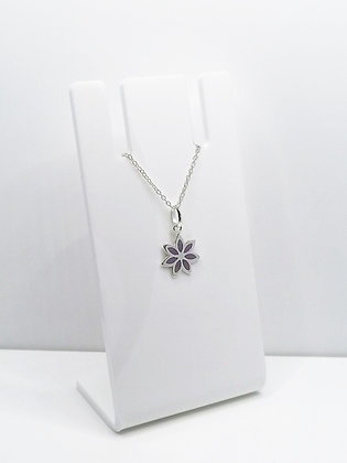 Sterling Silver Flower Pendant - Purple