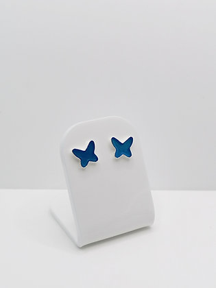 Sterling Silver Butterfly Resin Studs -  Blue