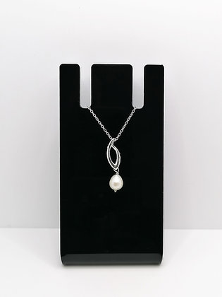 Sterling Silver Shaped Drop Pendant Pearl