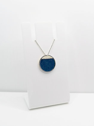 Sterling Silver Cutout Circle Pendant - Blue
