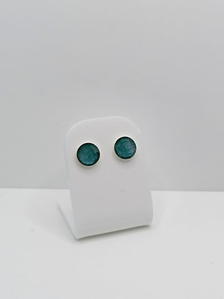 Sterling Silver 8mm Round Resin Studs -  Teal