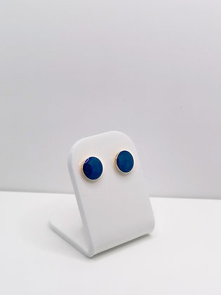 Sterling Silver Round Studs - Bright Blue