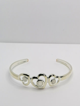 Silver Plated Hearts Resin Bangle - Pearl