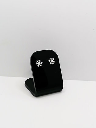 Sterling Silver Faceted Snowflake Studs
