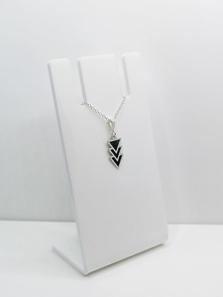 Sterling Silver Triangles Pendant - Black
