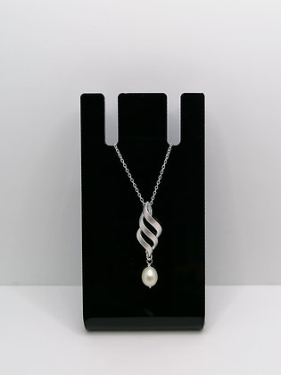 Sterling Silver Brushed Wave Pendant Pearl