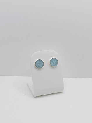 Sterling Silver 8mm Round Resin Studs - Pale Blue