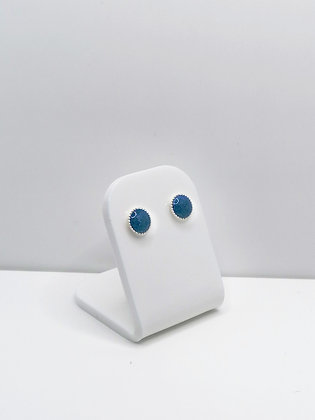 Sterling Silver Medium Round Studs - Pastel Blue