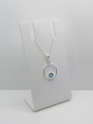 Sterling Silver Ring Pendant with Circle -  Pale Blue