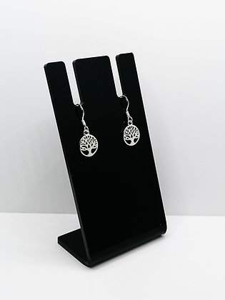 Sterling Silver Round Tree Earrings