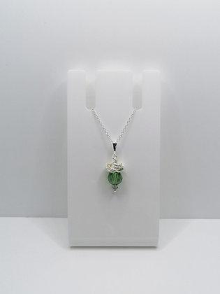 Sterling Silver Thistle Pendant - Green Swarovski