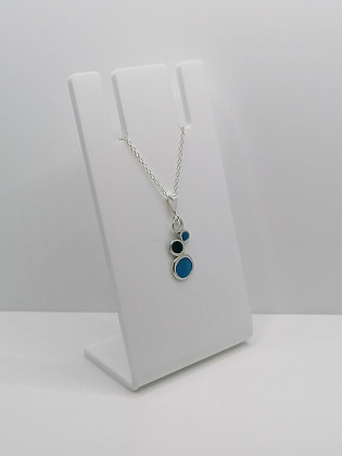 Sterling Silver Pebble Pendant - Blue