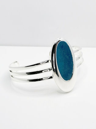 Silver Plated Large Oval Resin Bangle - Blue