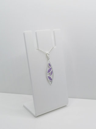 Sterling Silver Leaf Pendant - Purple