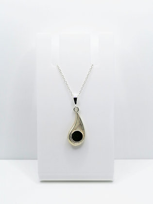 Sterling Silver Drop Pendant - Black