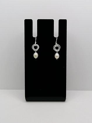 Sterling Silver Pearl Knot Earrings