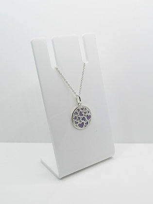 Sterling Silver Round Heart Pendant - Lilac