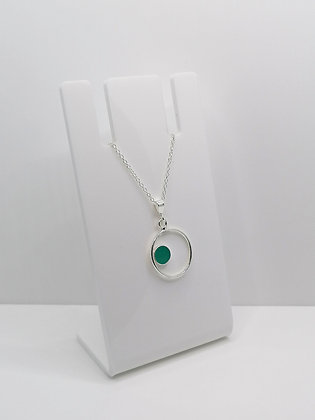 Sterling Silver Ring Pendant with Side Circle - Turquoise