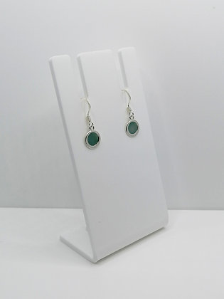 Sterling Silver Round Drop Earrings - Teal Green