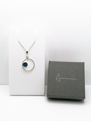 Sterling Silver Ring Pendant with Circle - Teal Blue