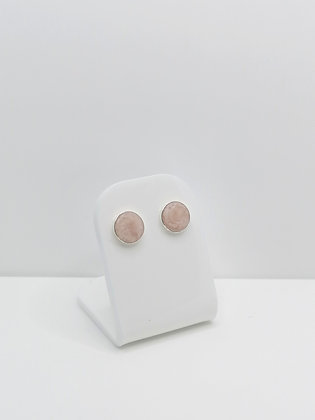 Sterling Silver Round Studs - Pink