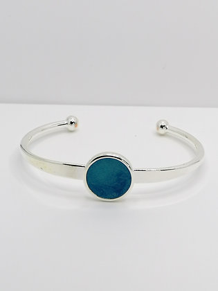 Silver Plated Resin Bangle - Blue