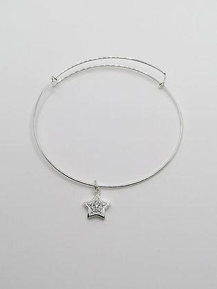 Sterling Silver Adjustable Bracelet - CZ Star