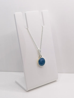 Sterling Silver Round Pendant - Pastel Blue