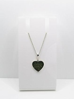 Sterling Silver Heart Pendant -Black Pattern