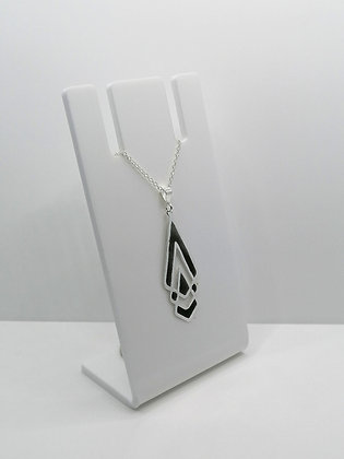 Sterling Silver Shaped Pendant - Black