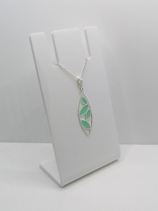 Sterling Silver Leaf Pendant - Turquoise