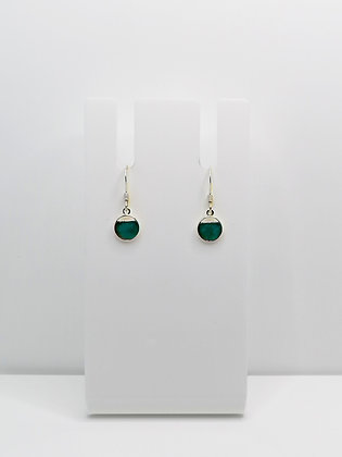 Sterling Silver Cutout Circle Drop Earrings - Turquoise