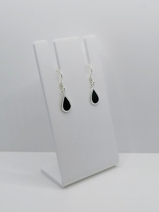 Sterling Silver Teardrop Earrings - Black