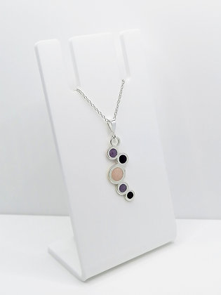 Sterling Silver Circles Pendant - Pink and Purple