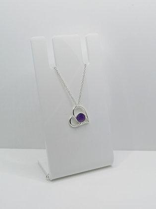 Sterling Silver Heart Pendant - Purple
