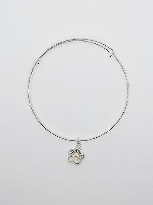 Sterling Silver Adjustable Bangle - Flower
