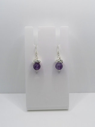 Sterling Silver Thistle Earrings - Faceted Amethyst