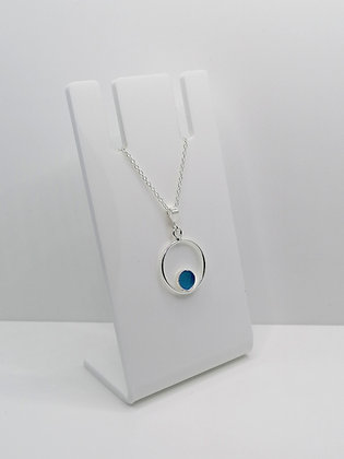 Sterling Silver Ring Pendant with Circle - Blue