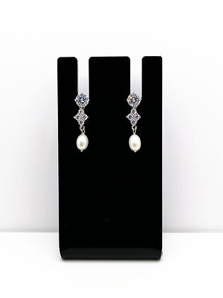 Sterling Silver Pearl Cubic Zirconia Studs