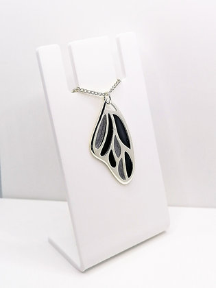 Silver Plated Wing Pendant - Black