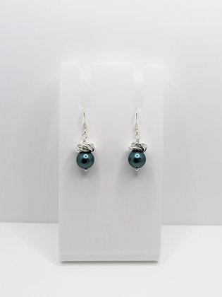 Sterling Silver Thistle Earrings - Teal Shell Pearl