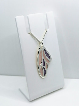 Silver Plated Wing Pendant - Lilac Pink