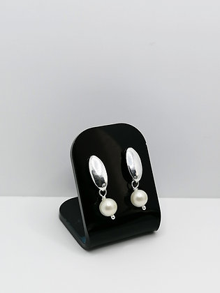 Sterling Silver Oval Studs - Pearl