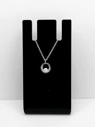 Sterling Silver Round Pearl CZ Pendant